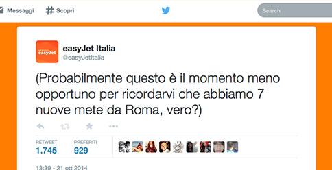 easyJet Tweet 7 nuove destinazioni da Roma